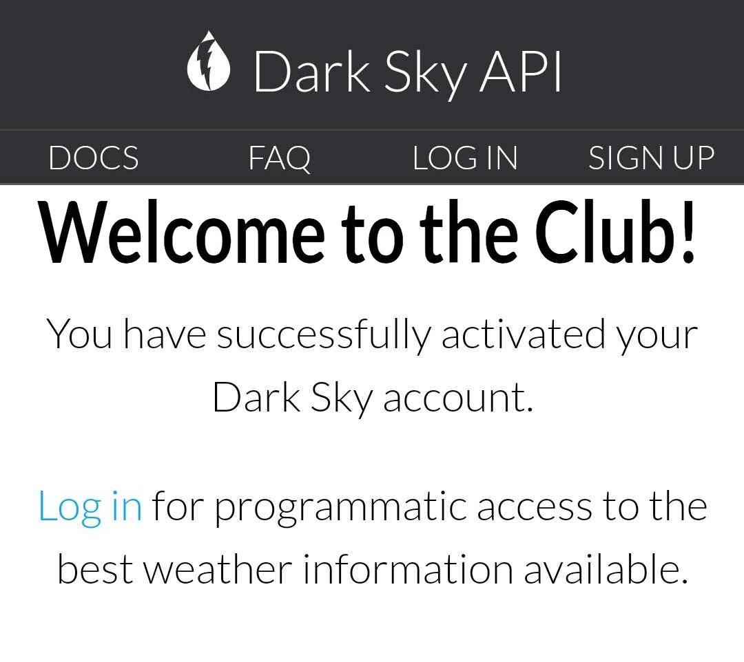 【天气】DarkSky密钥申请教程
